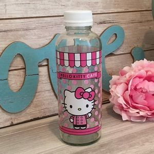 Hello Kitty Cafe Glass Bottle w/Plastic Cap